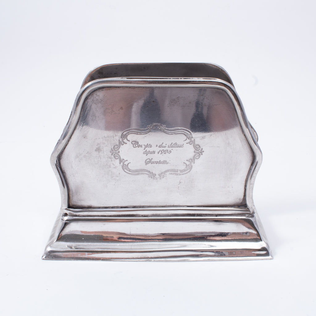 1920s Engraved French Hotel Silver Mail Card Holder