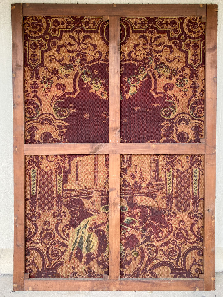 Large 19th c Antique Berlin Machine Woven Tapestry in Black, Gold & Burgundy