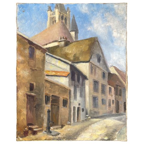 Small 1930s French Painting - Signed & Dated