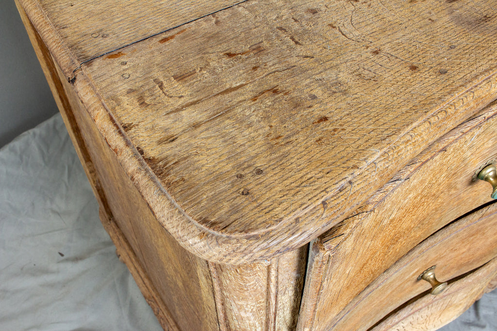 Antique French Stripped Oak Curved-Front Three-Drawer Commode