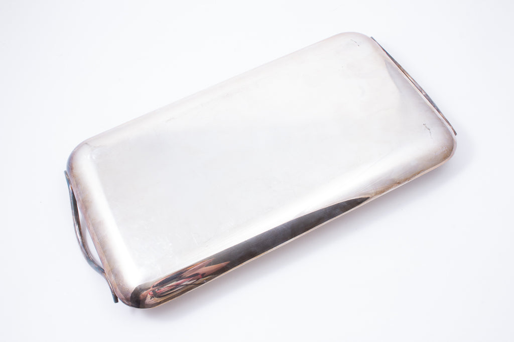 Mid-Century French Silverplate Narrow Engraved Tray found in Belgium