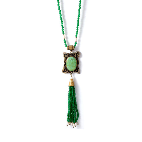 Turquoise & Green Stone Tassel Necklace w/ Pearls from Istanbul