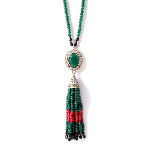 Green, Red & Black Beaded Tassel Necklace from Istanbul