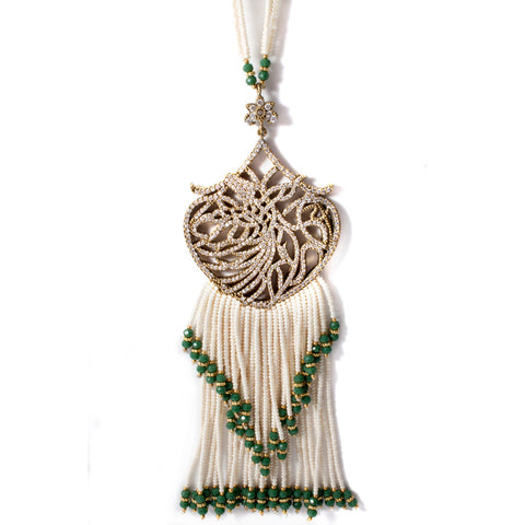 Crystal Filigree Pendant Tassel Necklace with Pearls from Istanbul