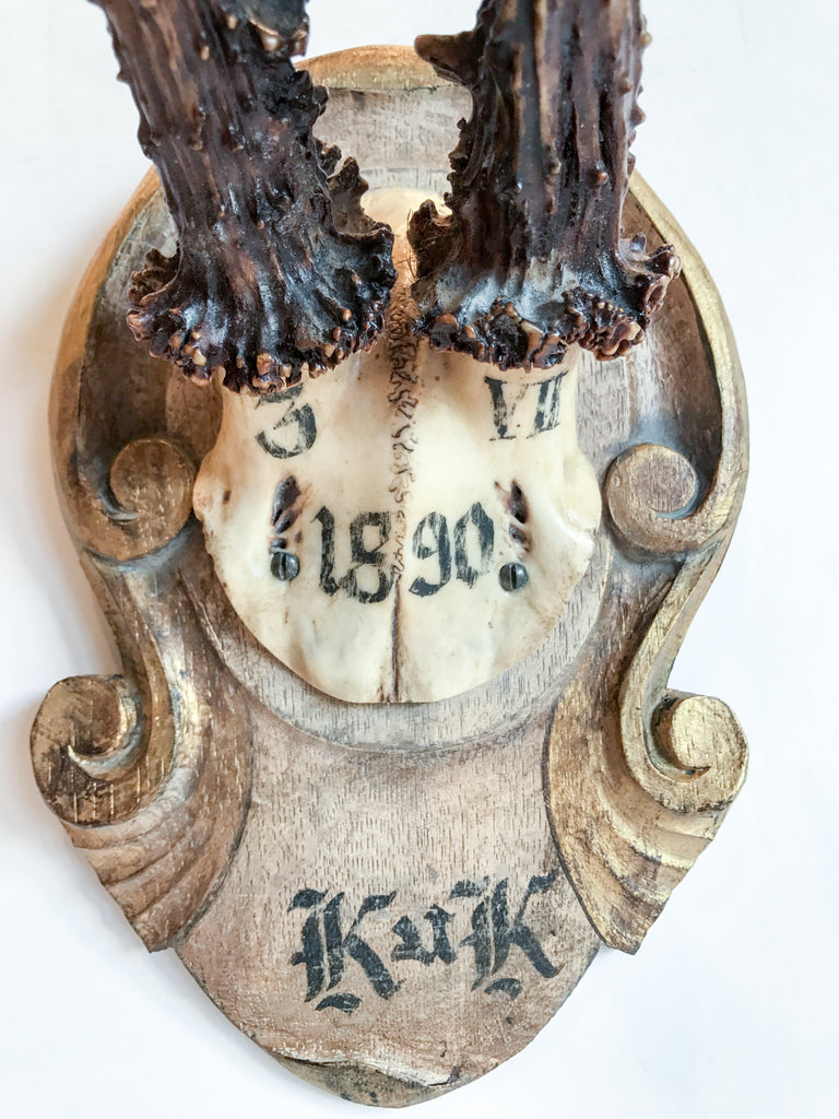"""Kaiser & King"" Roe Trophy of Emperor Franz Joseph on Hand-Carved Plaque"