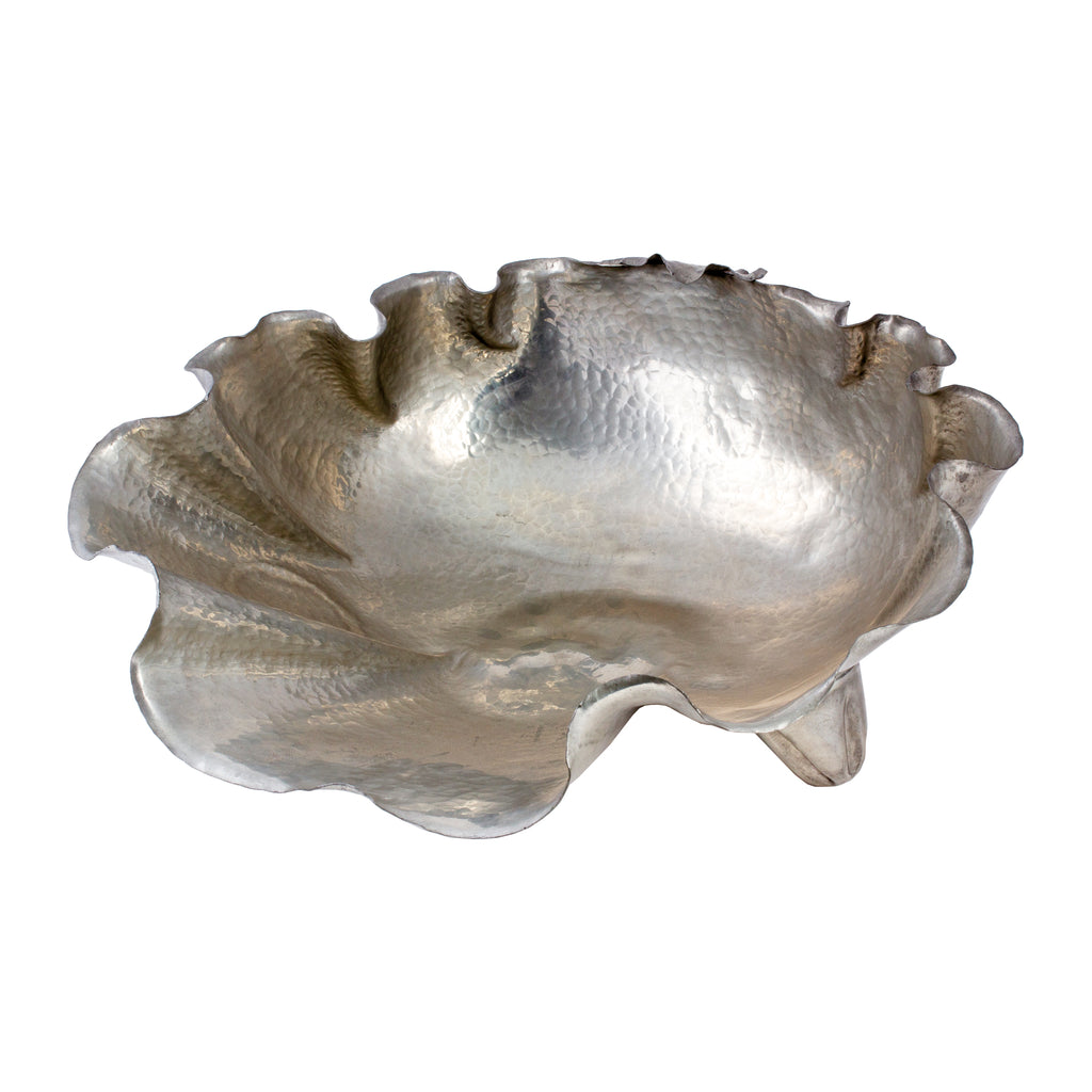 Handmade Vintage Italian Pewter Shell-Form Footed Bowl by Peltro