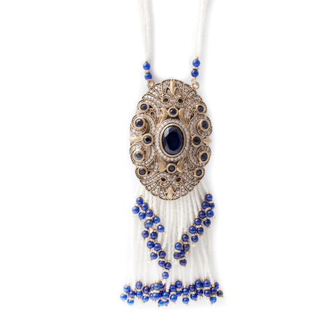 Beaded Cobalt Stone Pendant Necklace with Seed Pearls & Pave Crystals from Istanbul