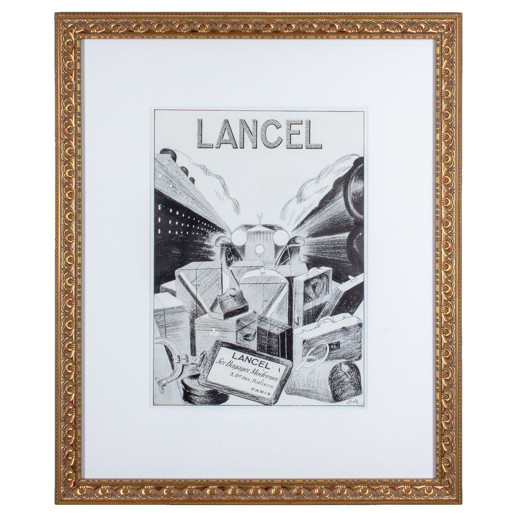 Original 1930s Framed French Lancel Luggage Print Ad