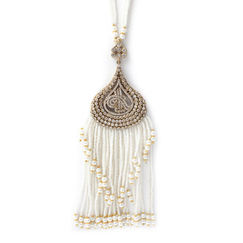 Turkish Pearl Beaded Tassel Necklace with Pave Crystal Filigree Pendant