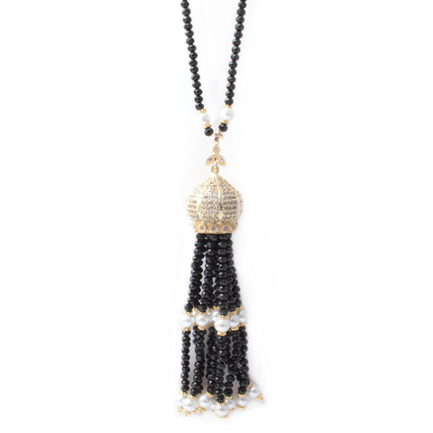Black Faceted Bead & Pearl Tassel Necklace with Pave Crystals from Istanbul