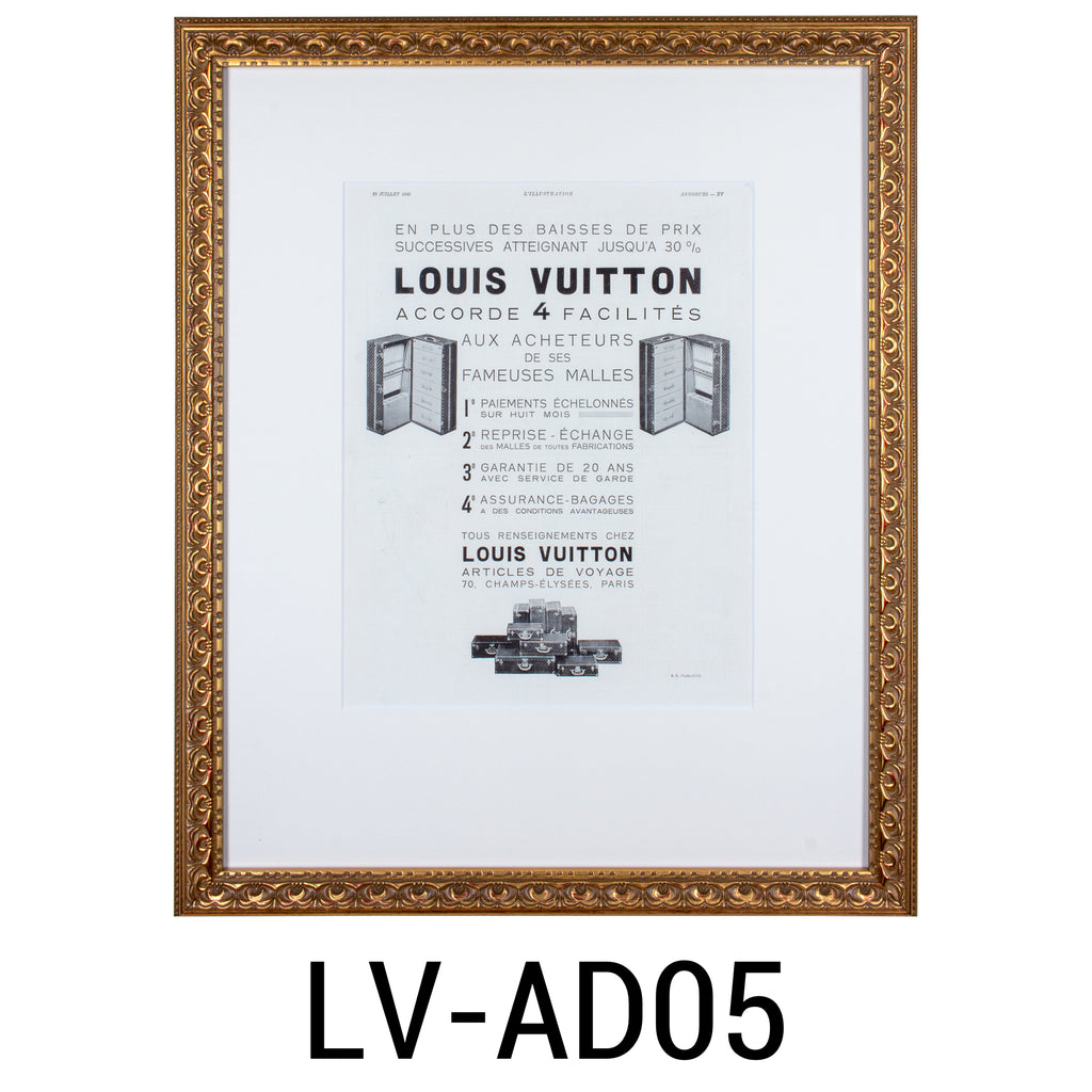 Framed 1930s Original French Louis Vuitton Luggage Print Ads