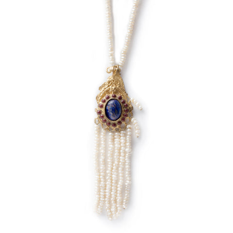 Natural Pearl, Lapis Lazuli & Ruby Tassel Necklace from Istanbul