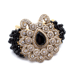 Beaded Black Stone Bracelet with Pave Crystal Filagree Centerpiece from Istanbul