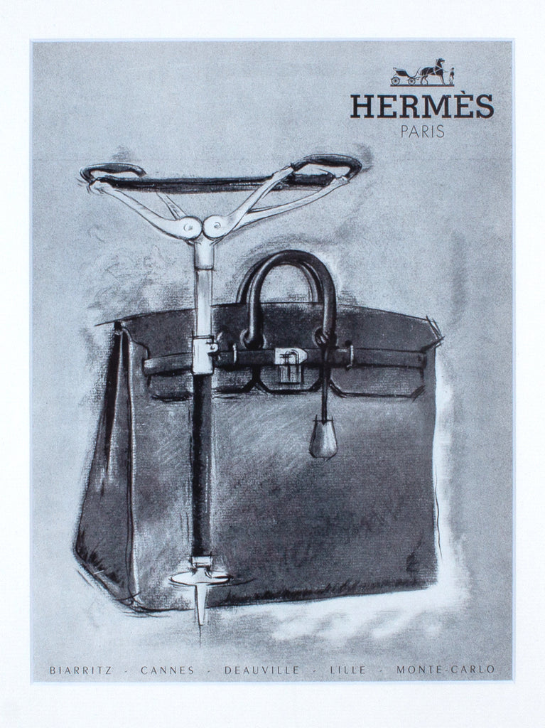 Framed Vintage French Hermès Handbag Print Ads