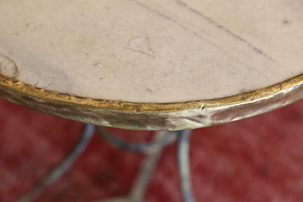Antique French Marble Iron and Brass Bistro Table