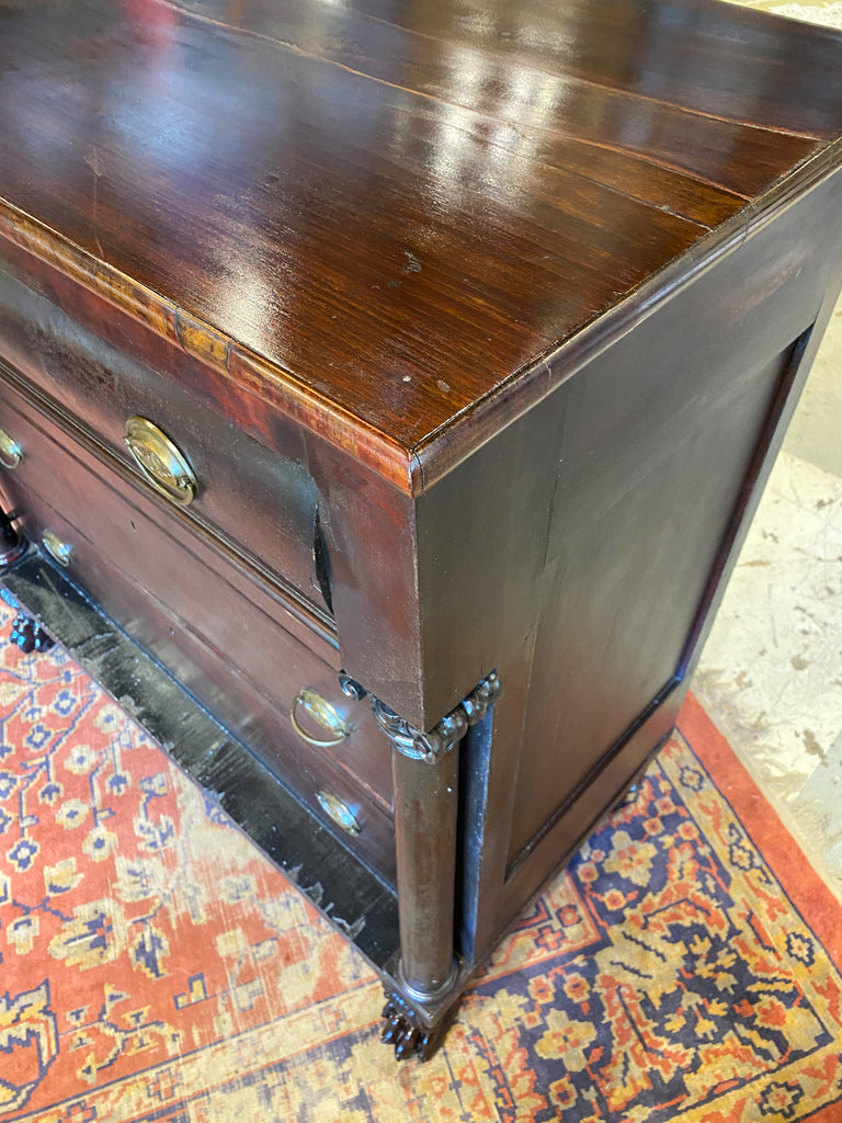 Large Empire Carved Chest of Drawers with Paw Feet and Brass Hardware