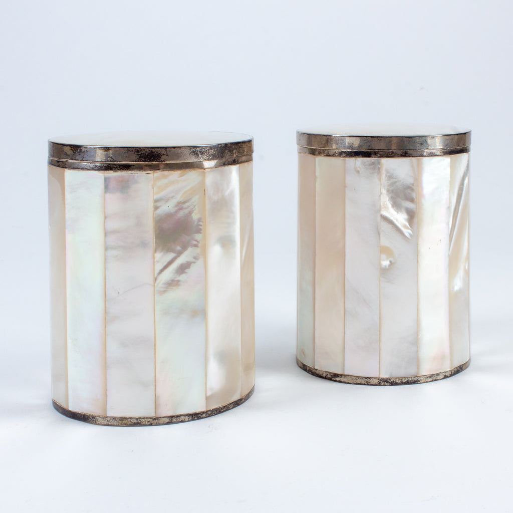 Pair of Vintage Mother of Pearl & Silver Plate Boxes