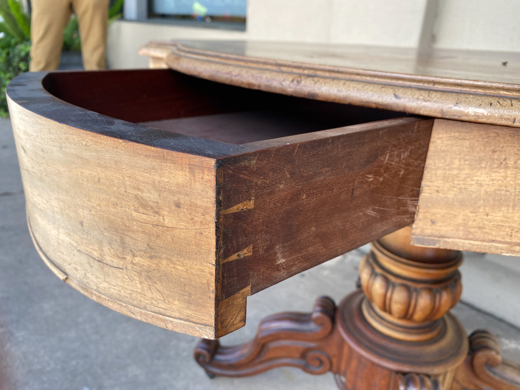 Antique French Mahogany Side Table with Drawers and Casters, circa 1890