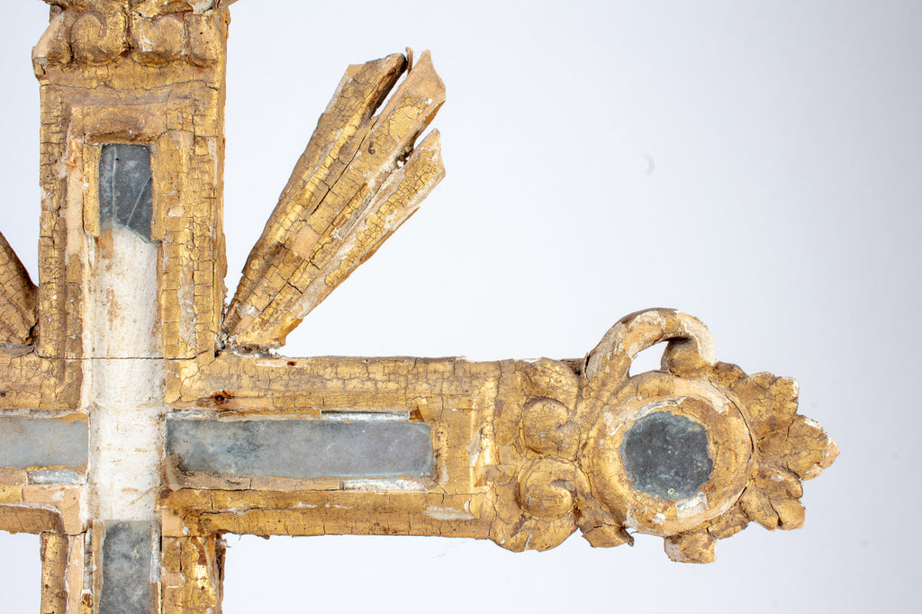 18th Century Wood & Mirrored Mosaic Standing Cross found in Italy
