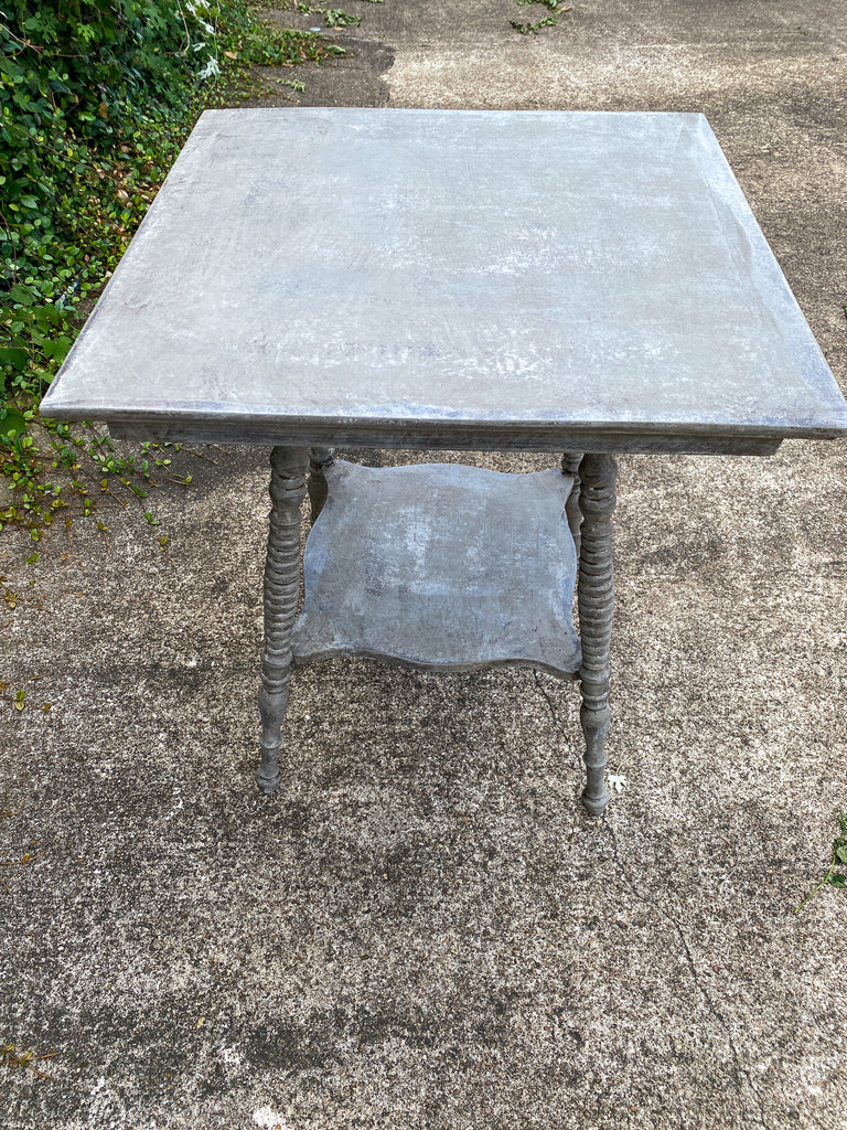 Antique Oak Side Table with Turned Legs in Hand Painted Greige Finish