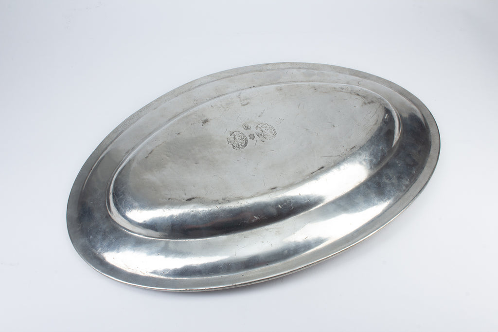 Antique Italian Handmade Engraved Pewter Tray