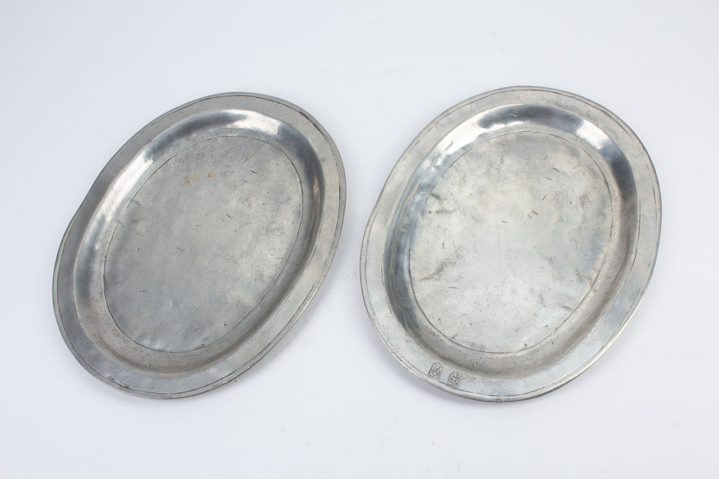 Pair of Small Antique Italian Pewter Trays
