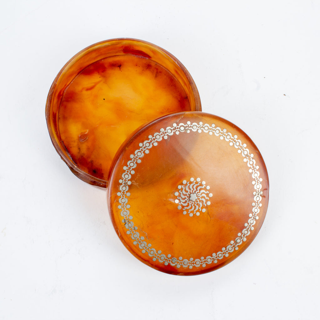 Small Round Antique Tortoise Shell & Inlaid Silver Box