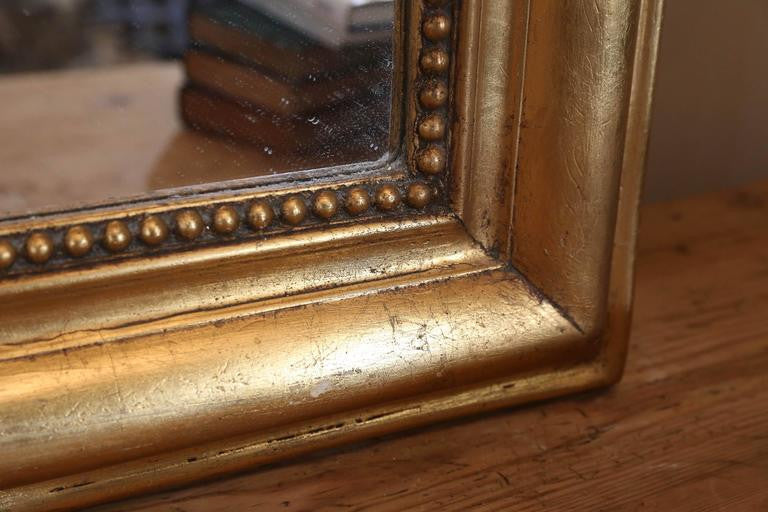 Large Antique French Louis Philippe Carved Gilt Mirror with Beading