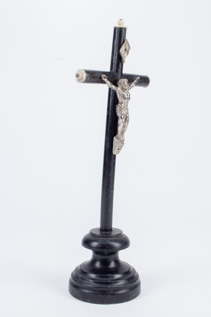 Vintage Wood & Metal Standing Crucifix found in Italy
