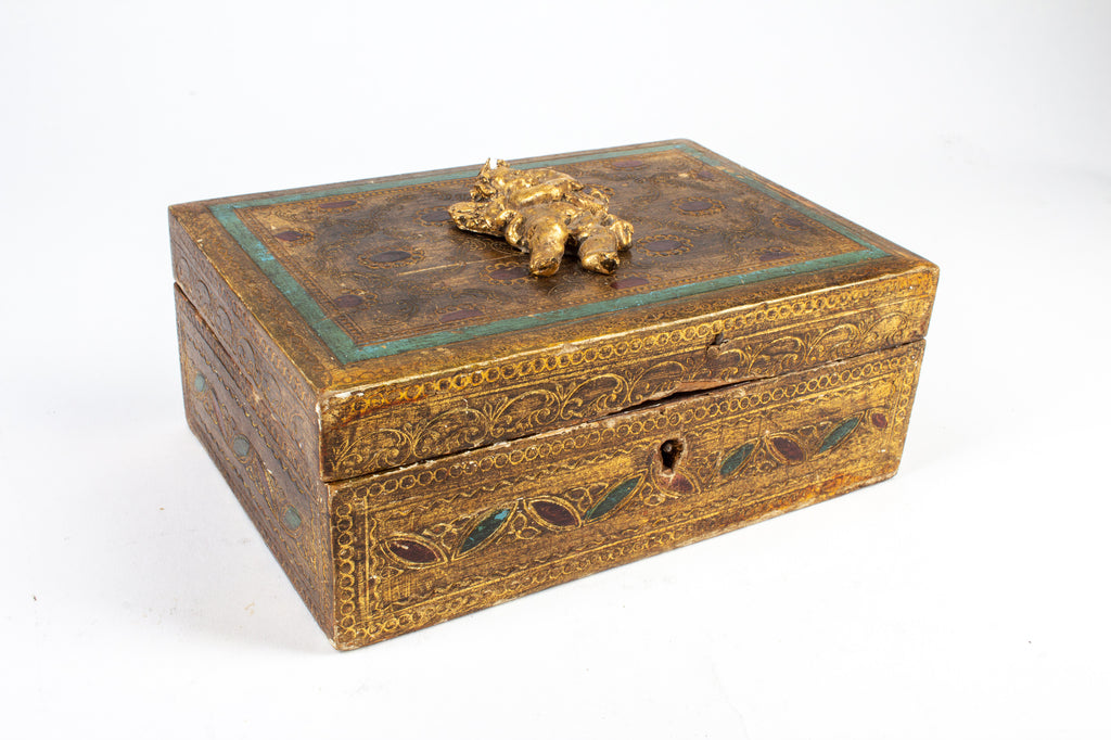 Vintage Italian Florentine Gilt Box with Carved Cherub Figure