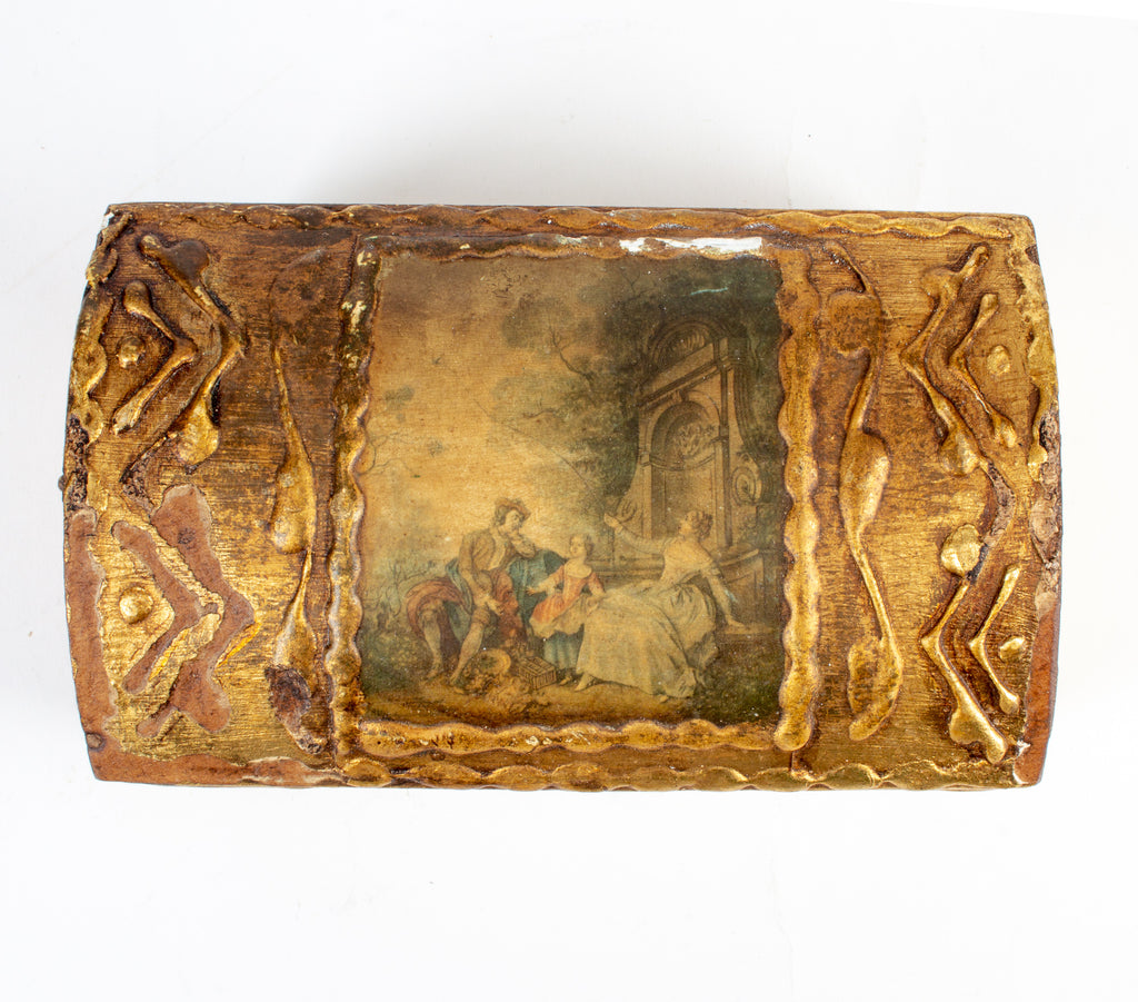 Vintage Italian Florentine Gilt Box with Miniature Painting on Lid