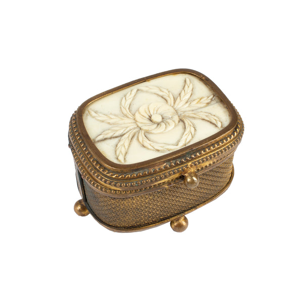 Miniature Brass & Carved Bone Keepsake Box found in Italy