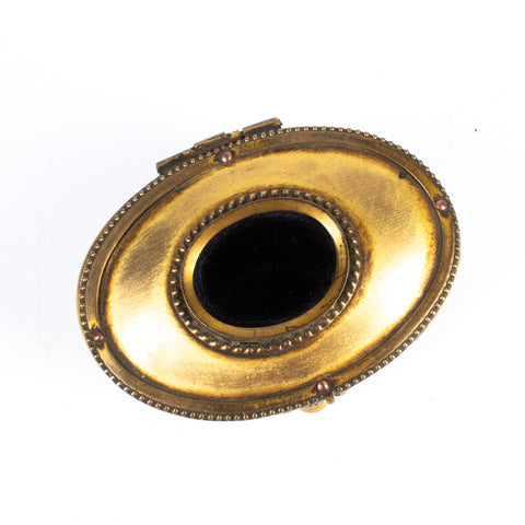 Miniature Brass & Inlaid Onyx Keepsake Box found in Italy