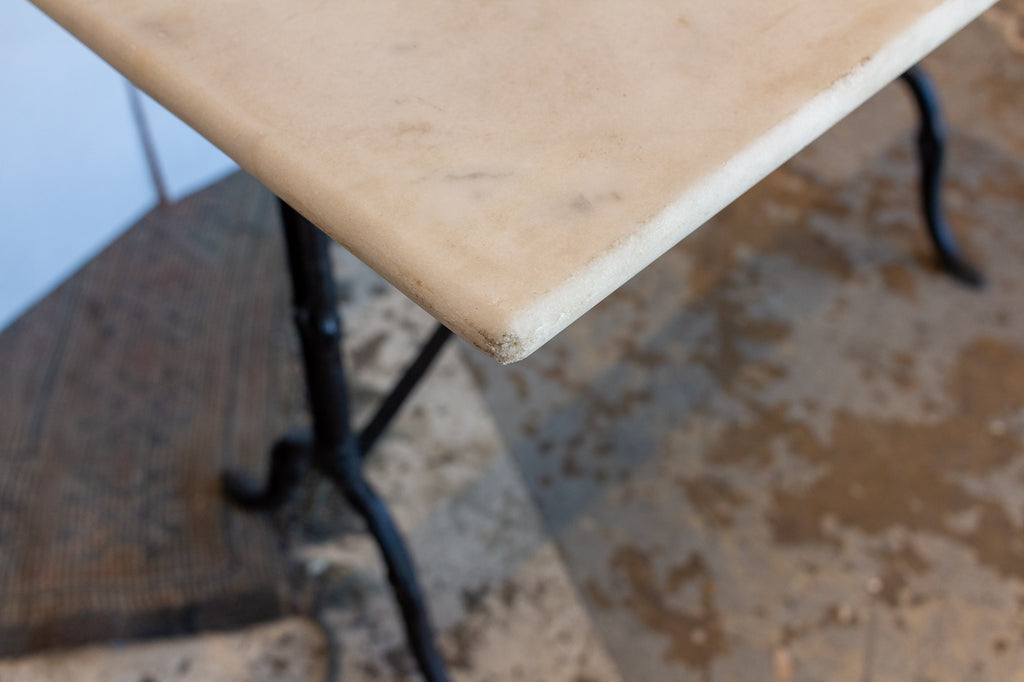 Antique French Marble and Iron Rectangular Bistro Table