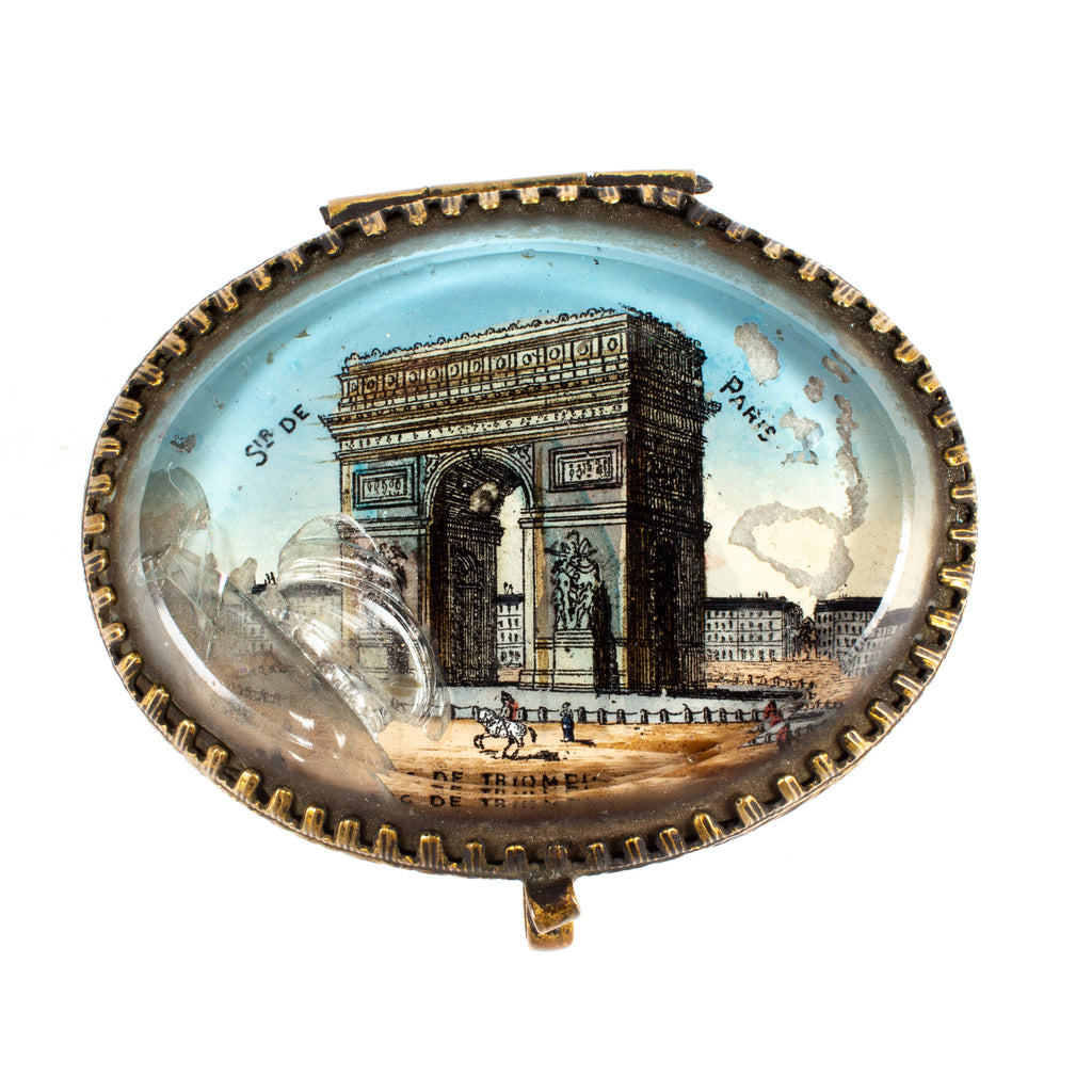Miniature Glass Top Arc de Triomphe Keepsake Box found in Italy