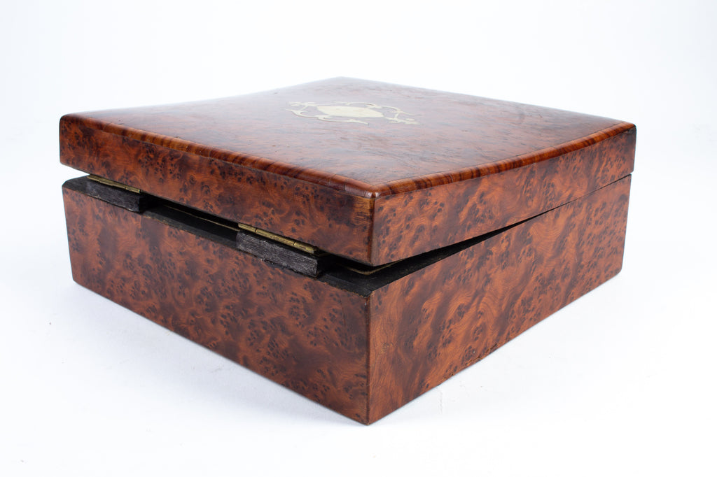 Antique Burled Wood Tea Box with Brass Inlay Decoration found in Italy