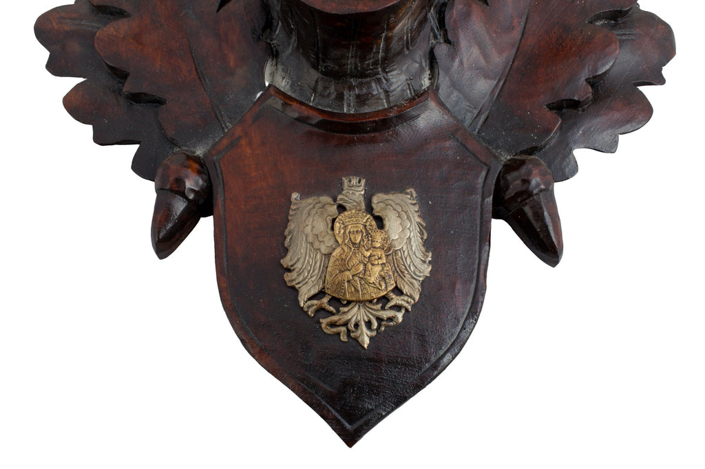 19th c Prussian Chamois Trophies with Napoleonic Wappen on Hand-Carved Plaques