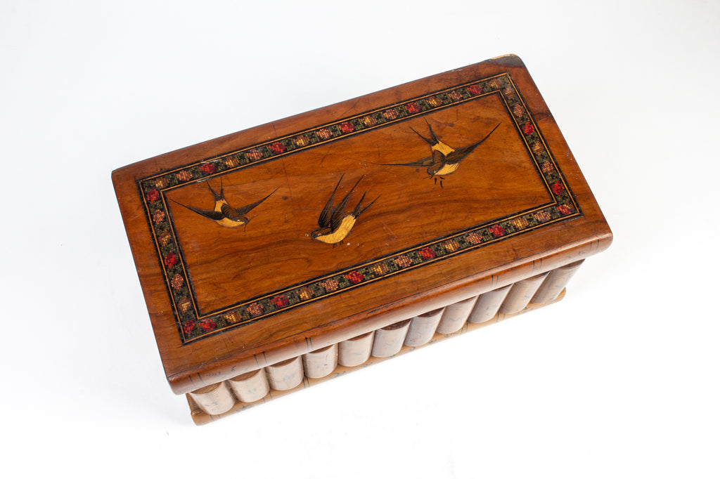 Antique Wood Box with Bird Inlay Decoration found in Italy