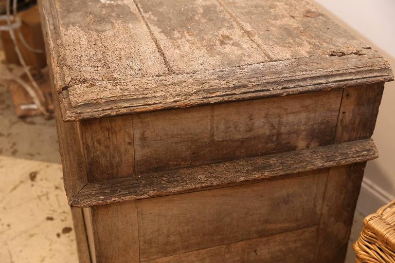 Large 18th Century French Oak and Iron Trunk