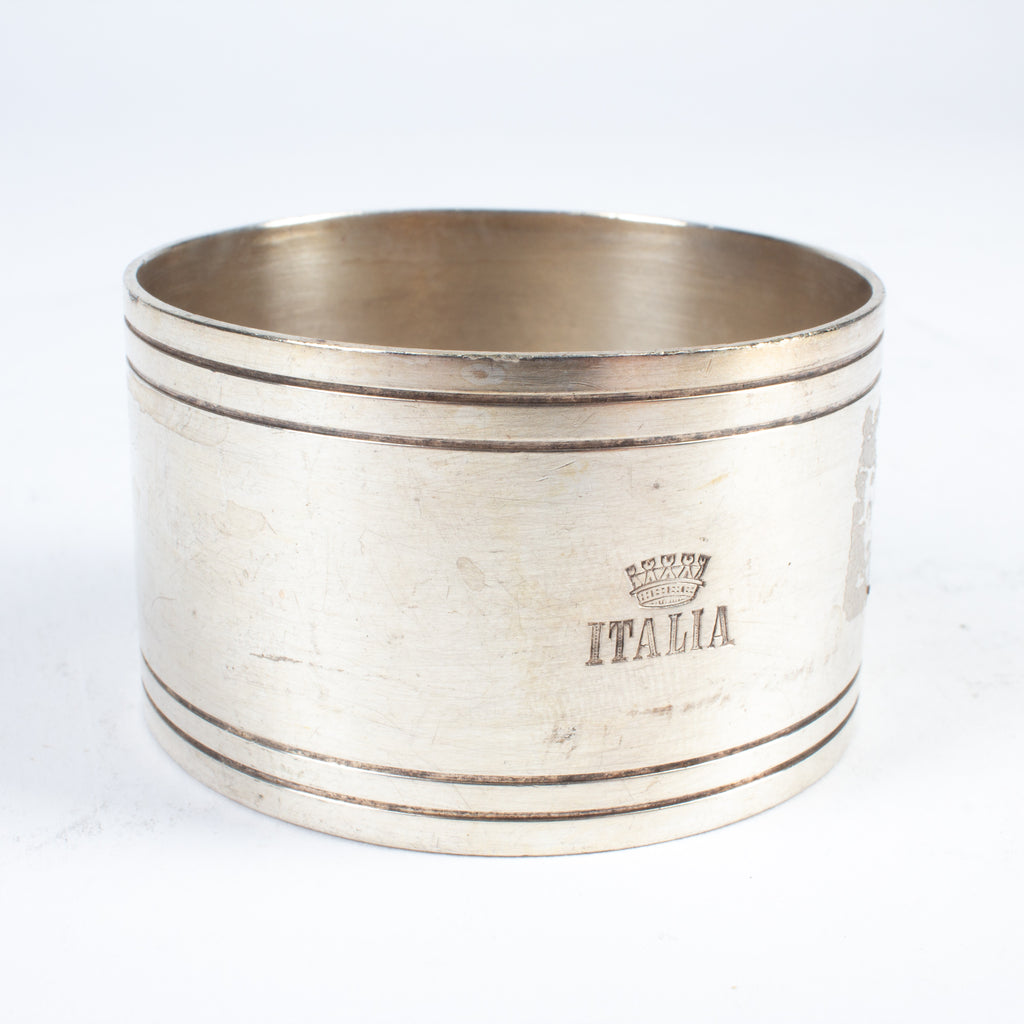 Set of Six Vintage Italia Hotel Silver Napkin Rings