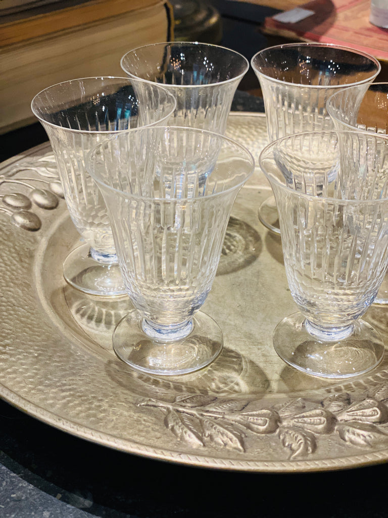 Set of Vintage French Crystal Wine Glasses
