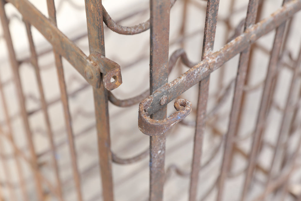 Antique French Standing Iron Wine Rack with Lockable Working Door