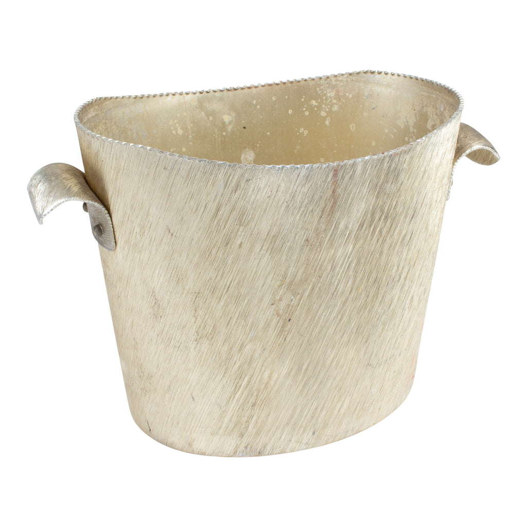 Vintage Italian Metal Ice Bucket in Textured Gold Finish