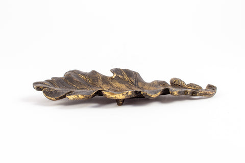 Antiqued Brass Oak Leaf Dish