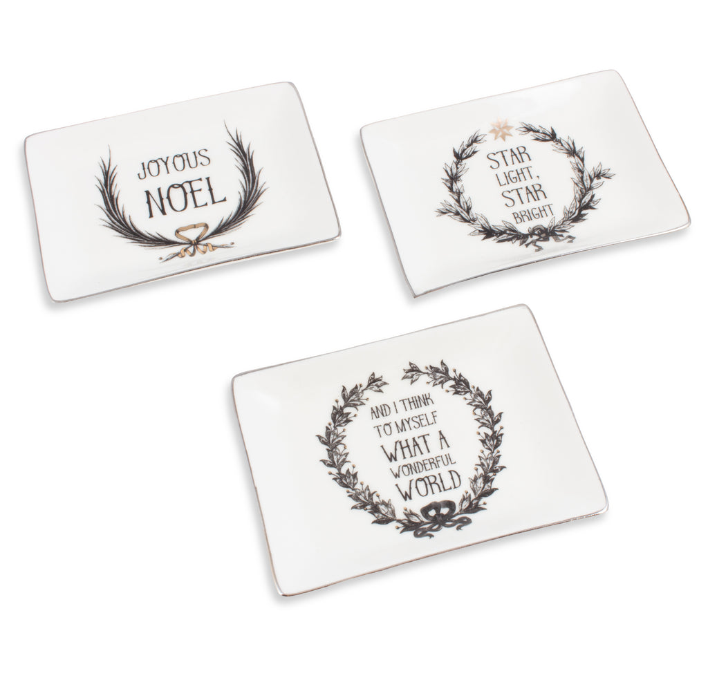 Stoneware Holiday Quotes Trinket Dish | Three Styles