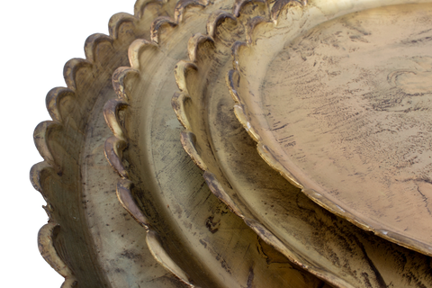 Round Brass Scalloped Trays | Four Sizes Available