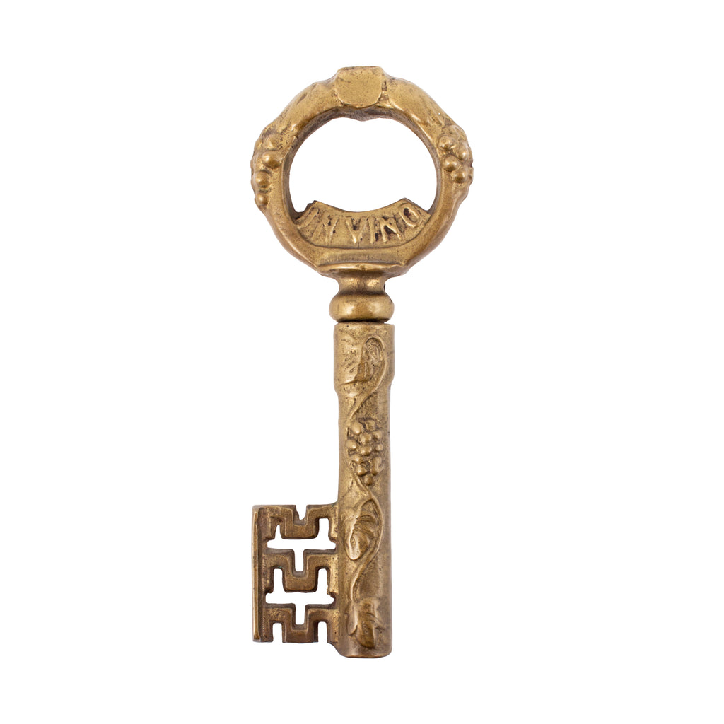 "Vintage ""In Vino Veritas"" Brass Key Bottle Opener"