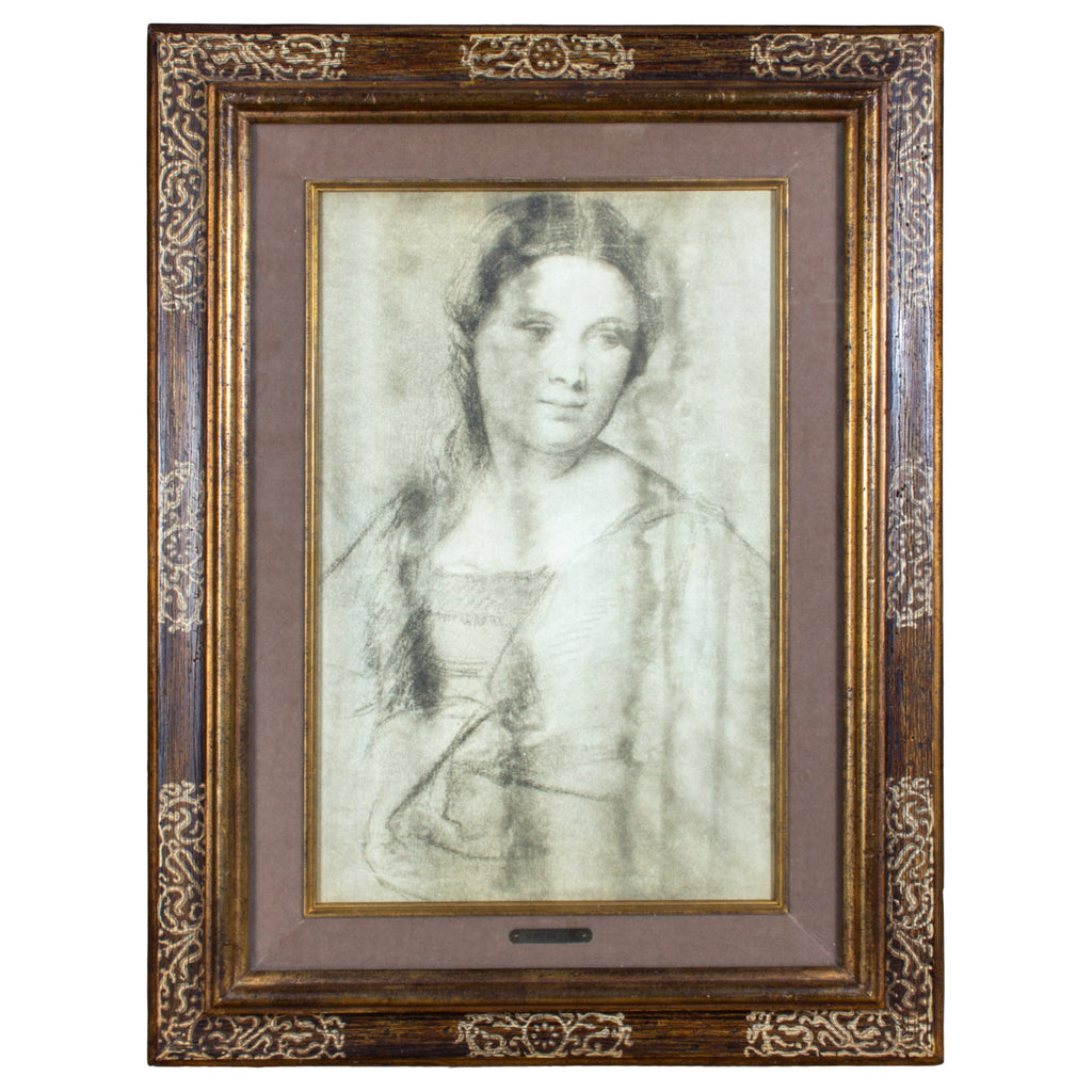 Antique Framed Vecellio Portrait of a Young Woman Print found in France