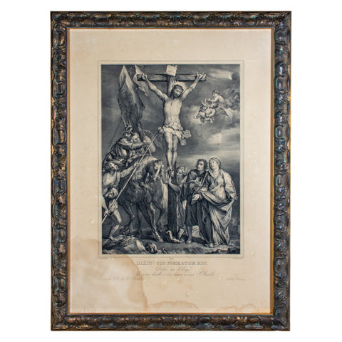 Framed Antique French Religious Print