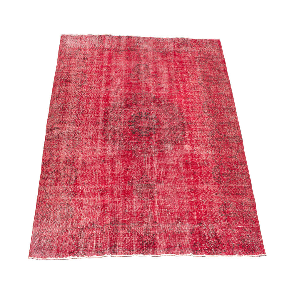 Bright Red & Black Vintage Turkish Overdyed Wool Rug